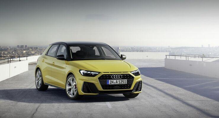 Audi A1 2018, gelb, stehend, links, rechts