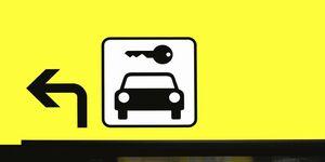 Autovermietung, Mietwagen, Schild