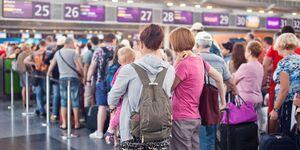 Check-in, Flughafen, Schlange, Menge, Urlaub
