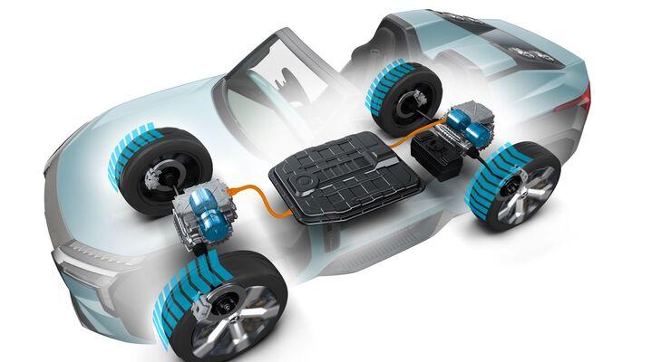 Mitsubishi Mi-tech concept, Allradantrieb, E-Motoren