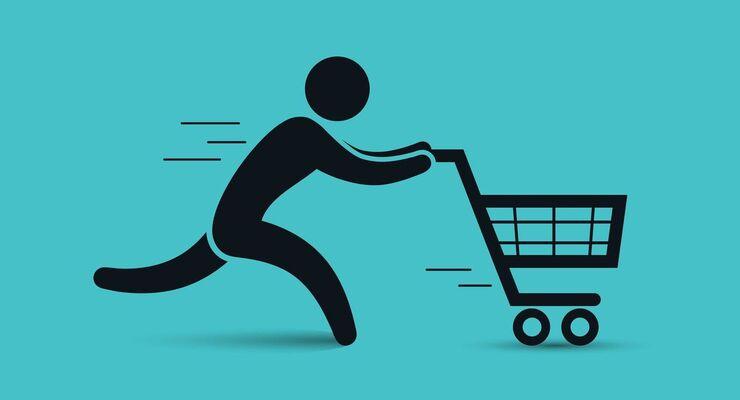 Running man pushing shopping cart icon. Vector shopping illustration.