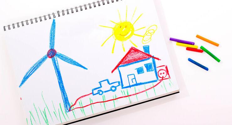 Windenergie, Elektroauto, kinderzeichnung, stromproduktion, energie